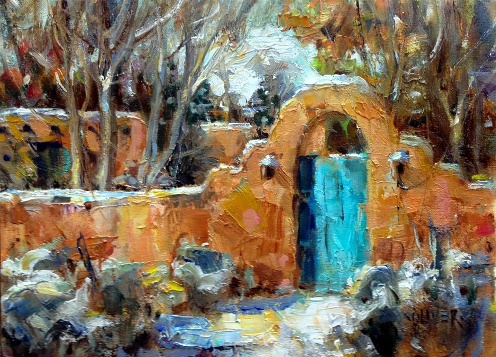 """Santa Fe Adobe and Development Steps."" original fine art by Julie Ford Oliver"