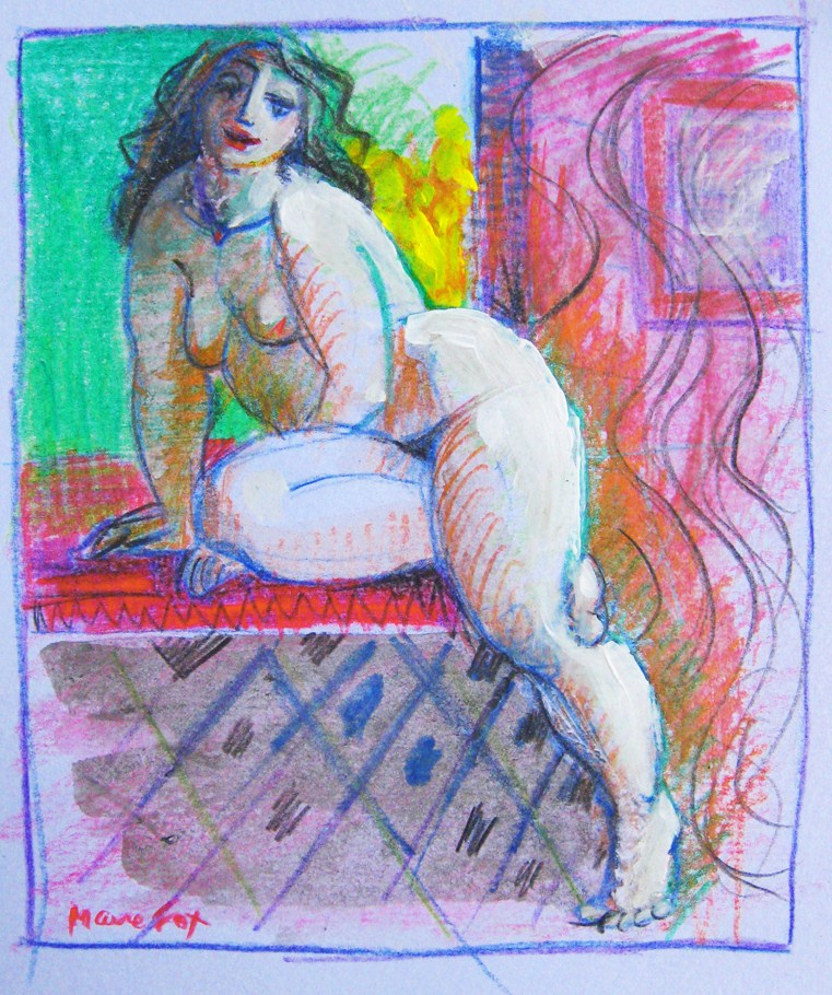 """Woman in Window, figurative drawing, figure painting, woman, figuration"" original fine art by Marie Fox"