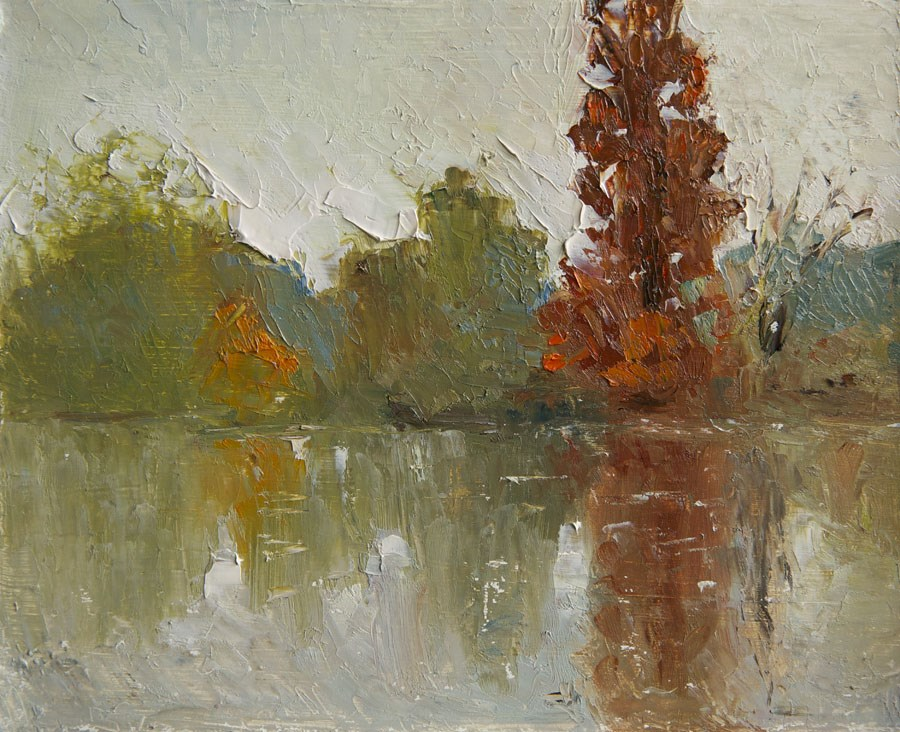 """Rainy River"" original fine art by Jethro Knight"