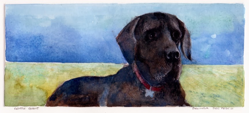 """Monotype: Gentle Giant (Great Dane)"" original fine art by Belinda Del Pesco"