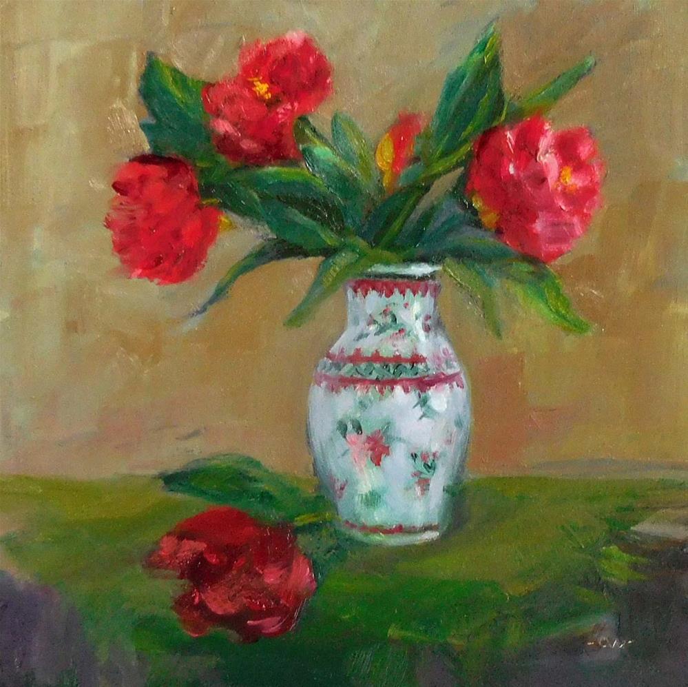 """Camellias and Green Scarf"" original fine art by Cietha Wilson"