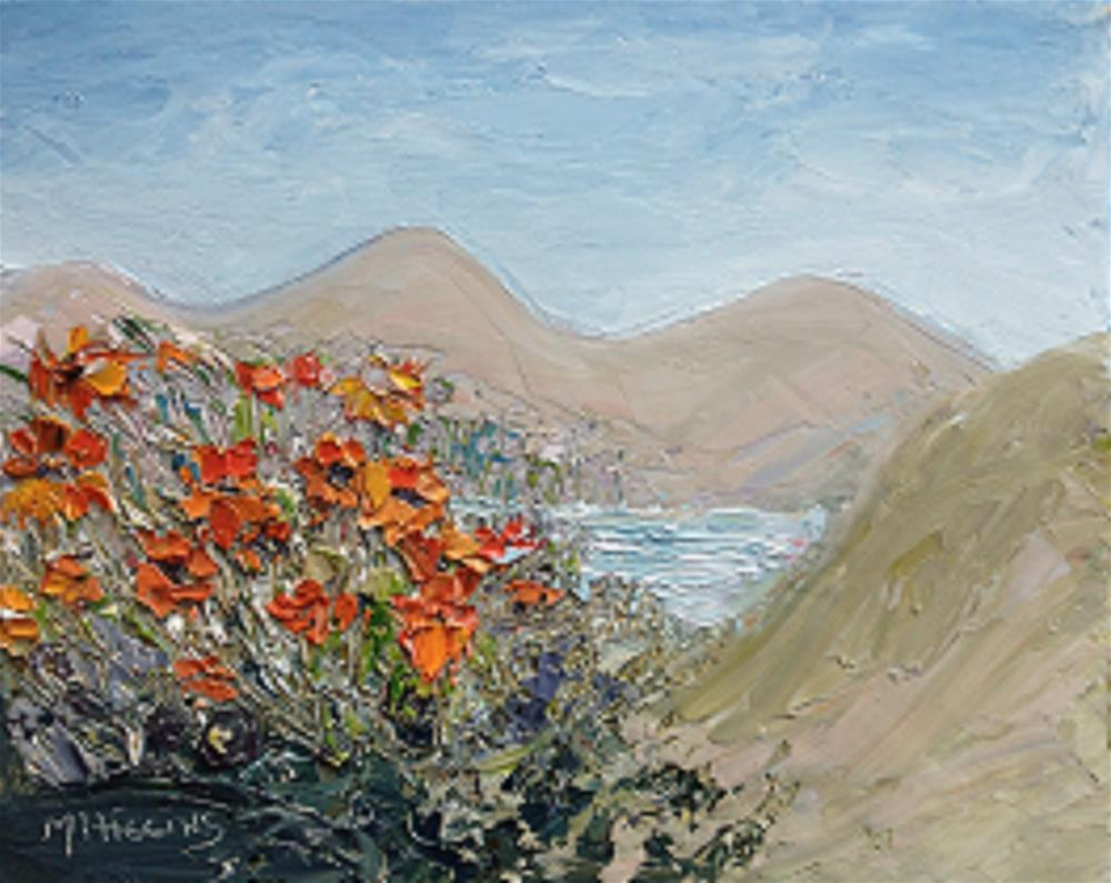 """""""Sand Dunes and Poppies"""" original fine art by Marie O' Higgins"""