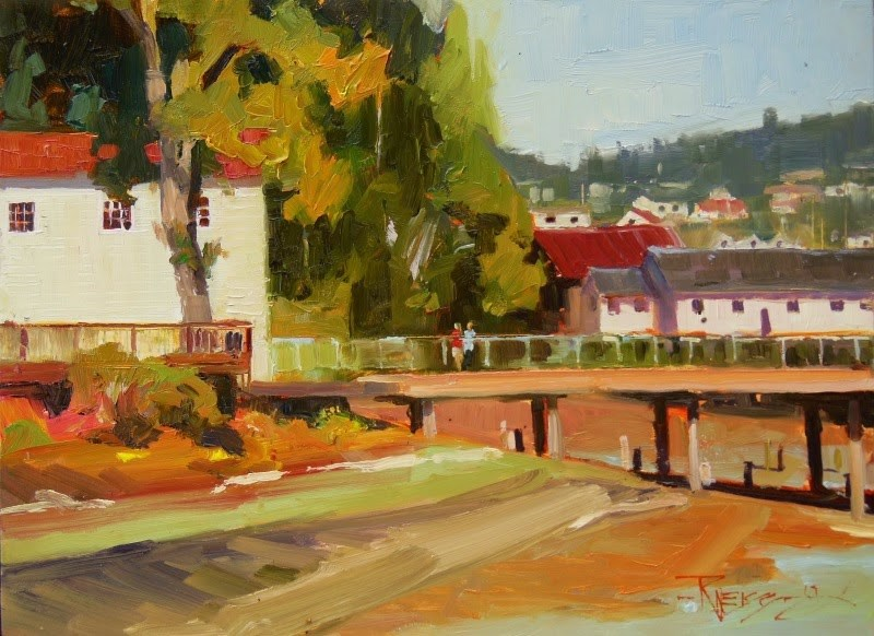 """Dock Time  plein air, oil, landscape painting by Robin Weiss"" original fine art by Robin Weiss"