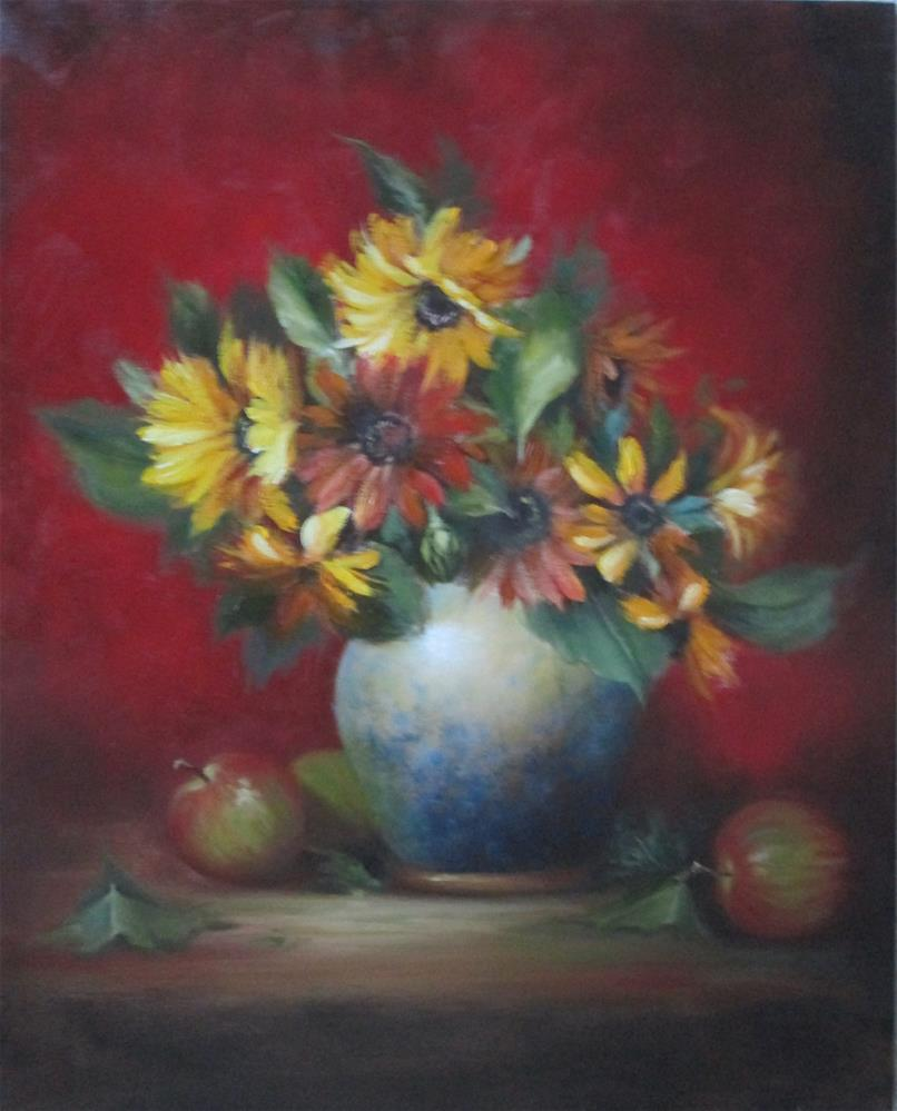 """Sunflowers and Apples"" original fine art by Barbara Wagner"