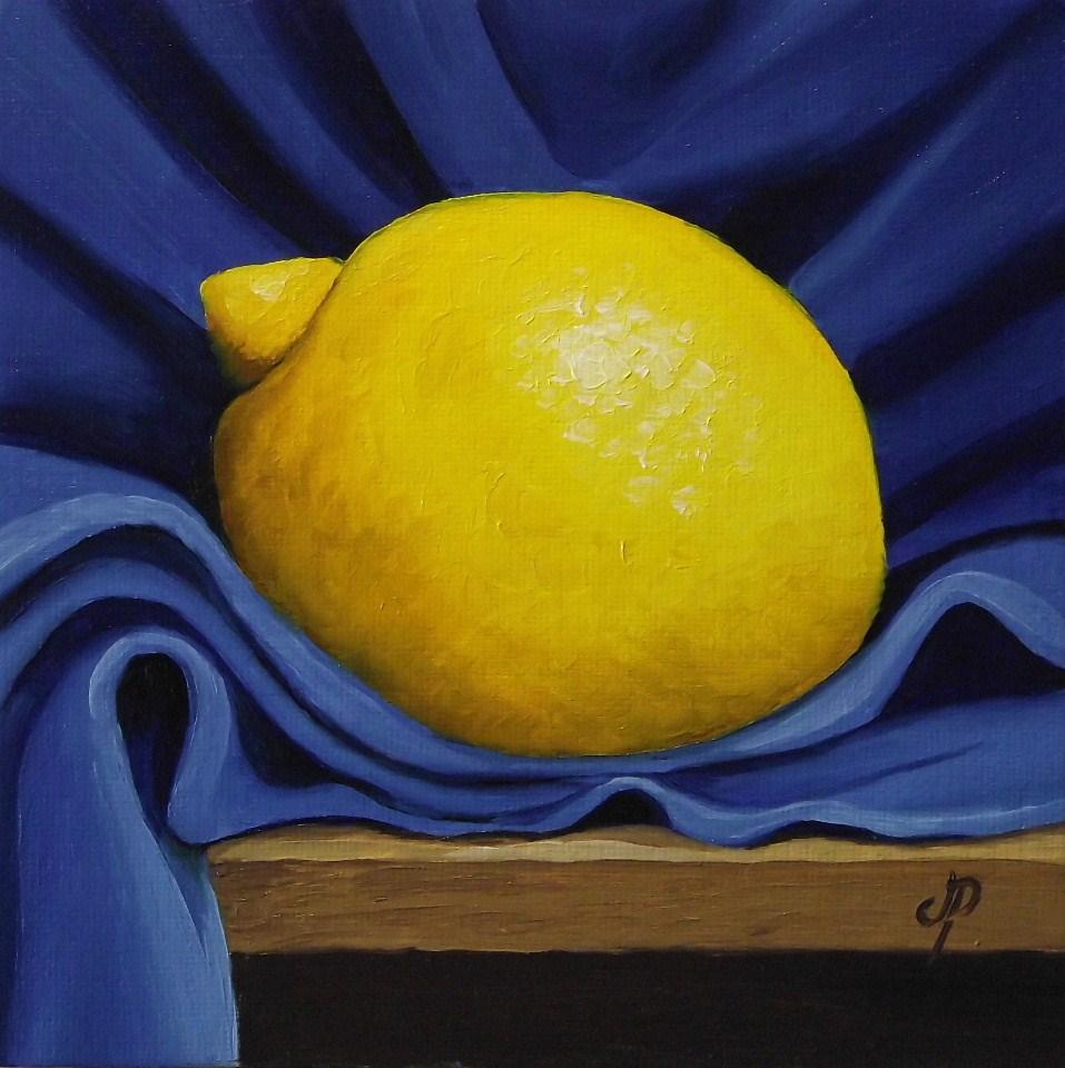 """Lemon on Blue"" original fine art by Jane Palmer"