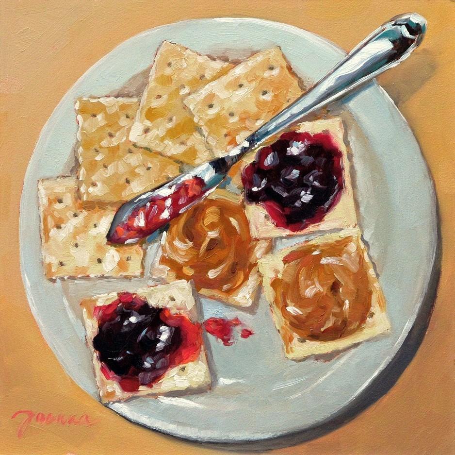 """PB&J on Crackers-1"" original fine art by Joanna Bingham"
