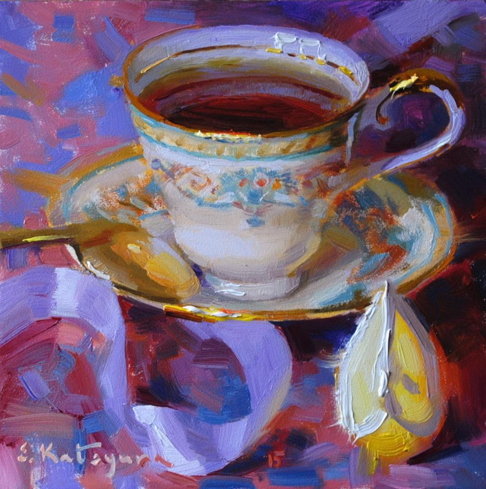 """Tea on Lilac"" original fine art by Elena Katsyura"
