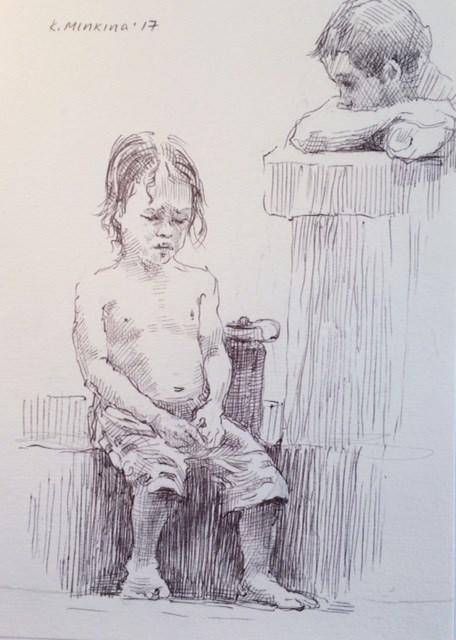 """hanasketching22"" original fine art by Katya Minkina"