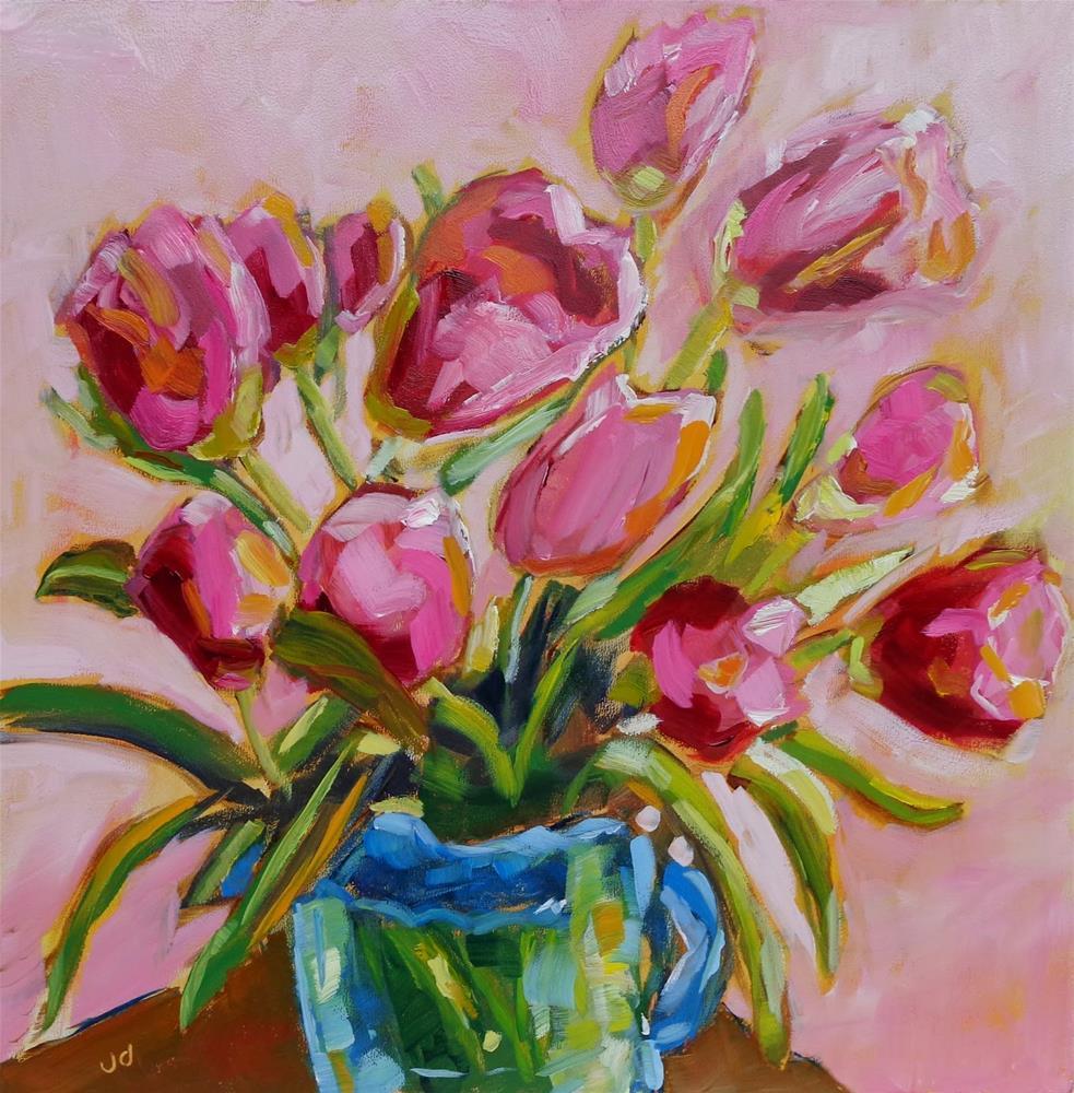 """Pink tulips"" original fine art by Jean Delaney"