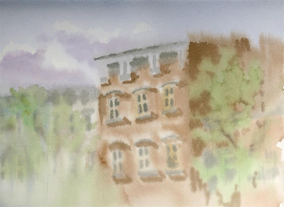 """""""Brooklyn Buildings #2"""" original fine art by Nancy Herman"""