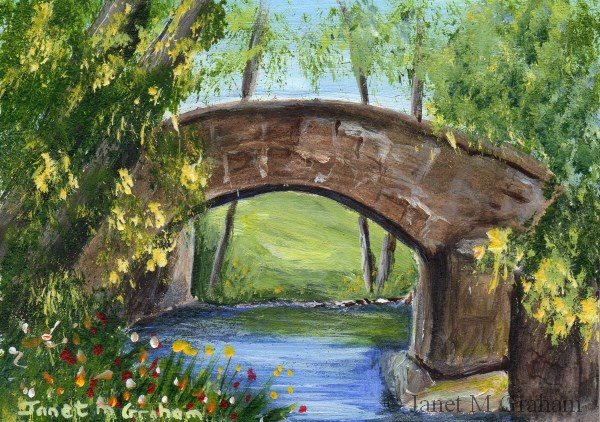 """Stone Bridge ACEO"" original fine art by Janet Graham"