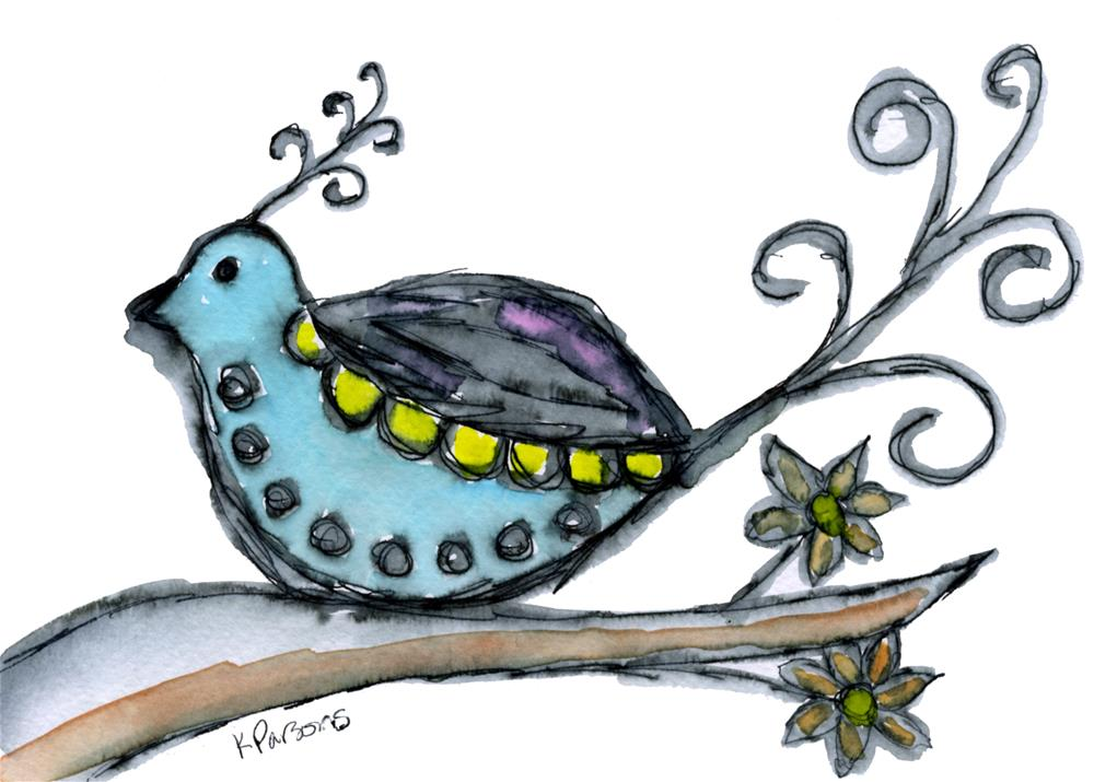 """Fancy Curly Bird"" original fine art by Kali Parsons"