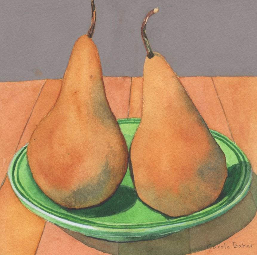 """""""Two Bosc Pears"""" original fine art by Carole Baker"""