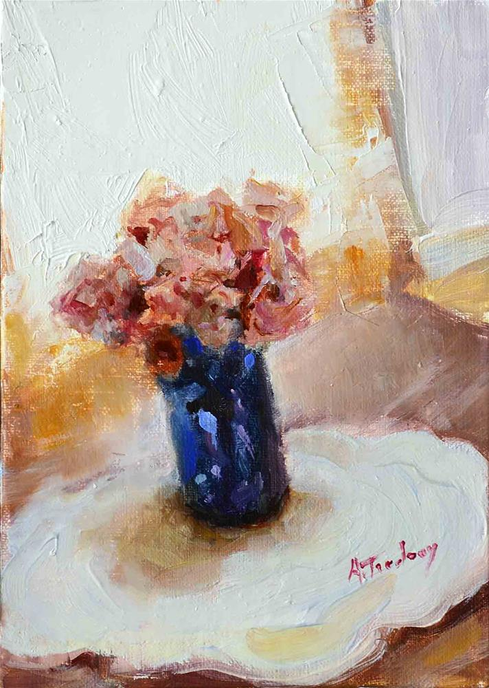 """Pink Roses in Blue Vase"" original fine art by alicia tredway"