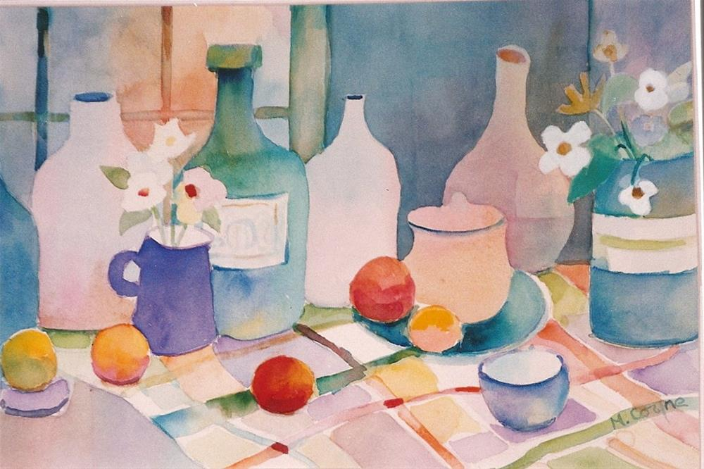 """bottles and fruit"" original fine art by meribeth coyne"