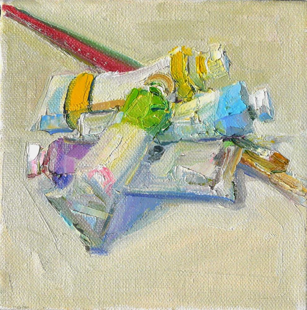"""Brushes and Tubes,still life, oil on canvas,6x6,price$200"" original fine art by Joy Olney"