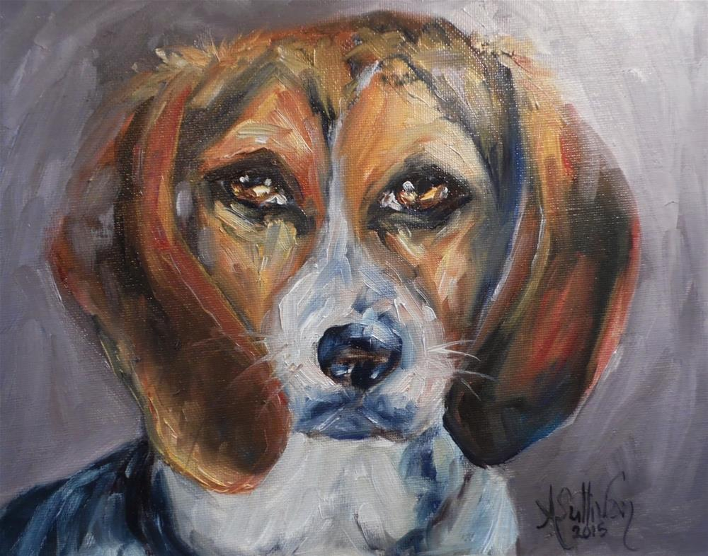 """Sammy dog painting by Alabama Artist Angela Sullivan"" original fine art by Angela Sullivan"