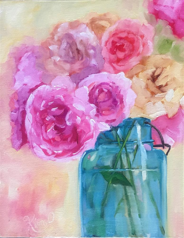 """Peonies in Blue Jar"" original fine art by Kim Peterson"