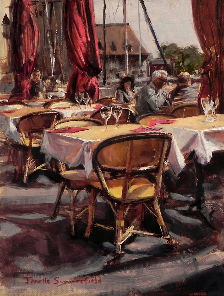 """Cafe Table in Honfleur II"" original fine art by Jonelle Summerfield"