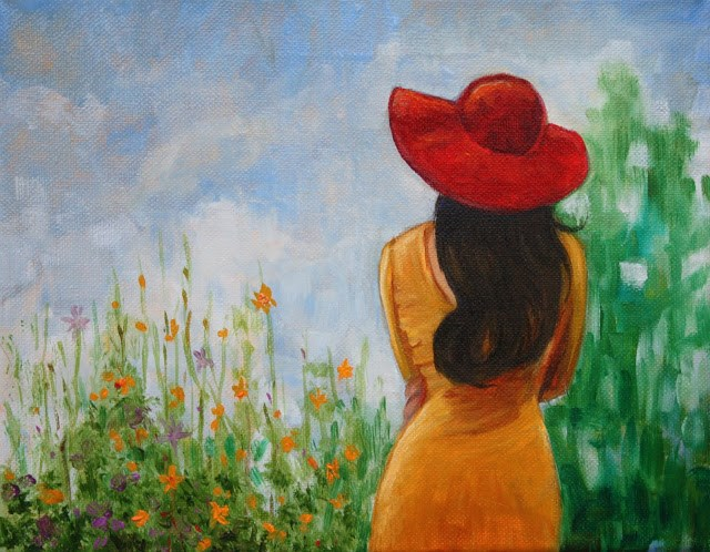 """""""The red hat"""" original fine art by Hilary J. England"""