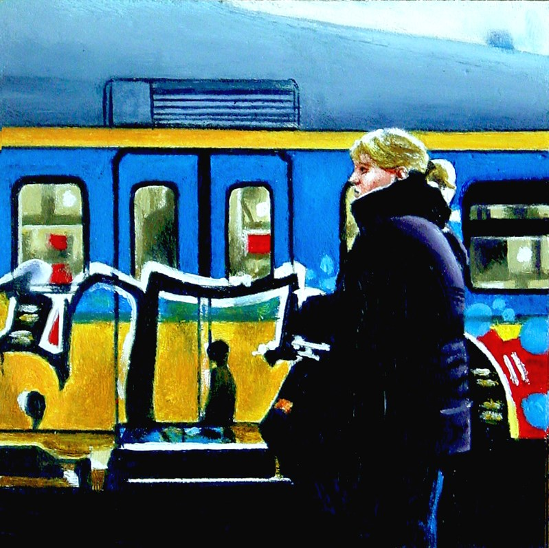 """Graffiti Train- Woman In Front Of Train Spray Painted With Graffiti"" original fine art by Gerard Boersma"