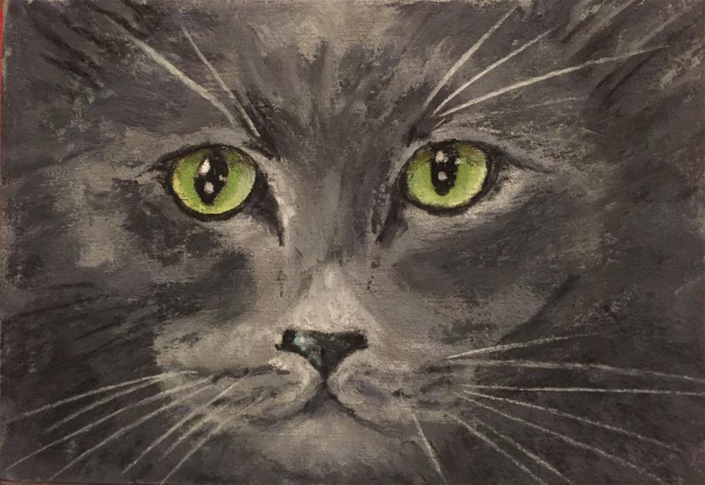"""Russian blue"" original fine art by Natasha Ramras"