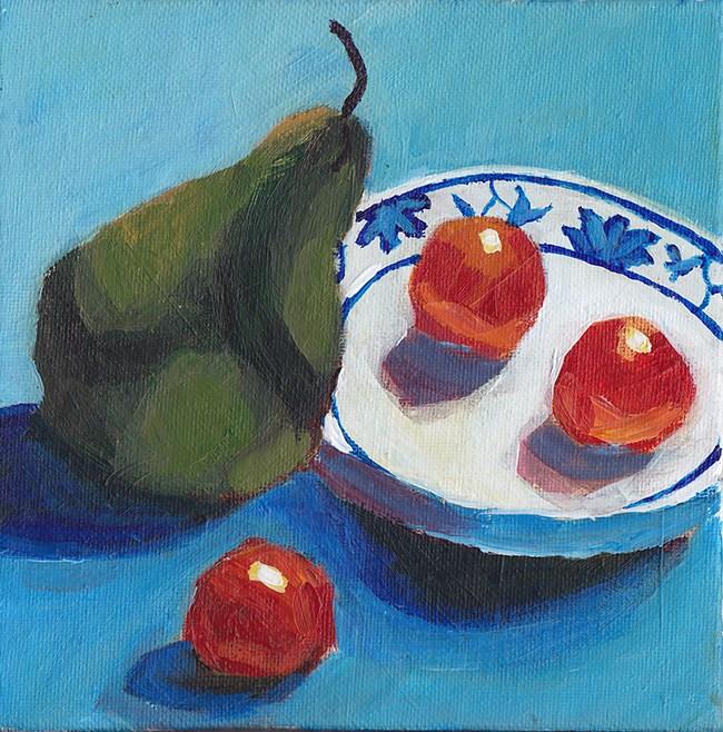"""Pear Goes Visiting"" original fine art by J M Needham"