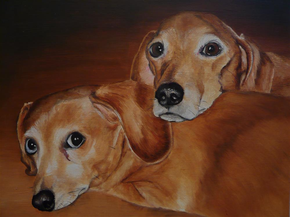 """Pair of Dachshunds"" original fine art by Karen Robinson"