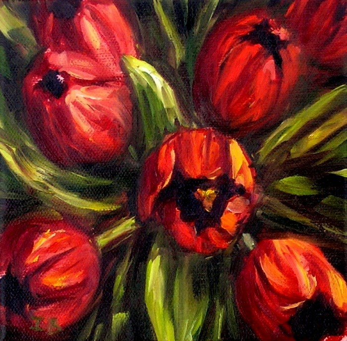"""Red Tulips"" original fine art by Irina Beskina"