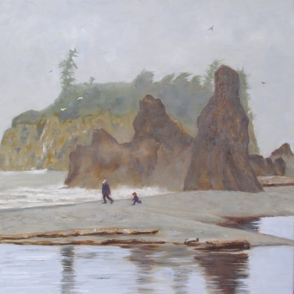 """Ruby Beach, 20x20 Oil on Canvas"" original fine art by Carmen Beecher"