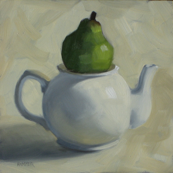 """I'm a little teapot 6x6 oil"" original fine art by Claudia Hammer"