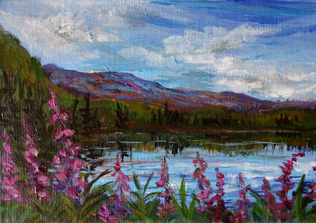 """Fireweed at LIttle Salmon"" original fine art by Jackie Irvine"