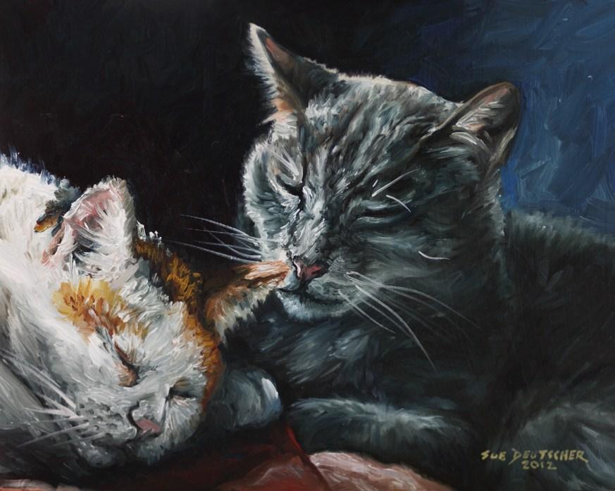"""""""Two Cats Resting"""" original fine art by Sue Deutscher"""