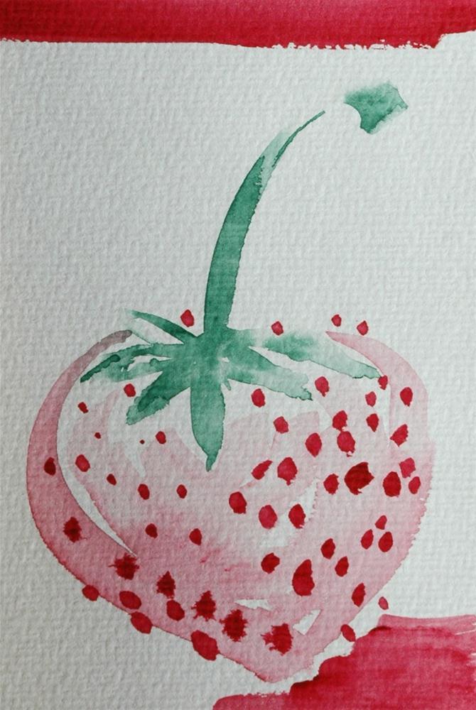 """Strawberry"" original fine art by Ulrike Schmidt"