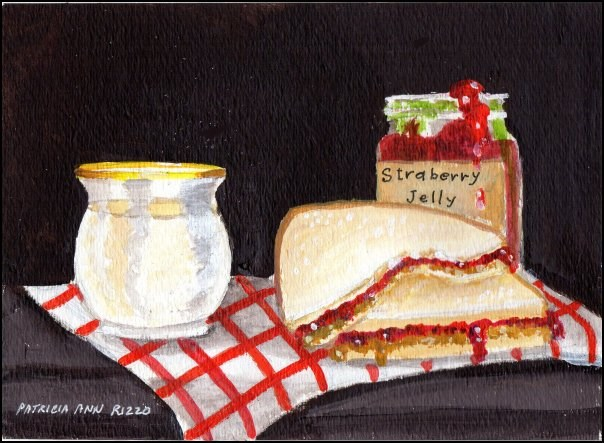 """PB&J with Strawberry Jelly"" original fine art by Patricia Ann Rizzo"