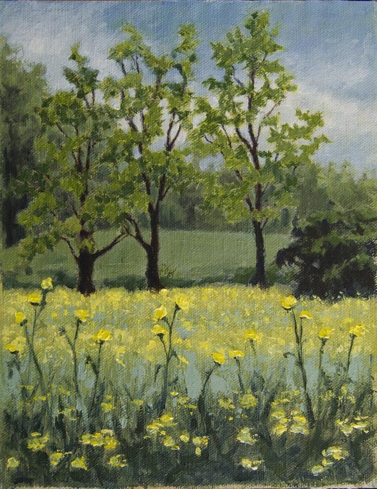 """Yellow Flowers and Trees – April 2016"" original fine art by Rachel Steely"