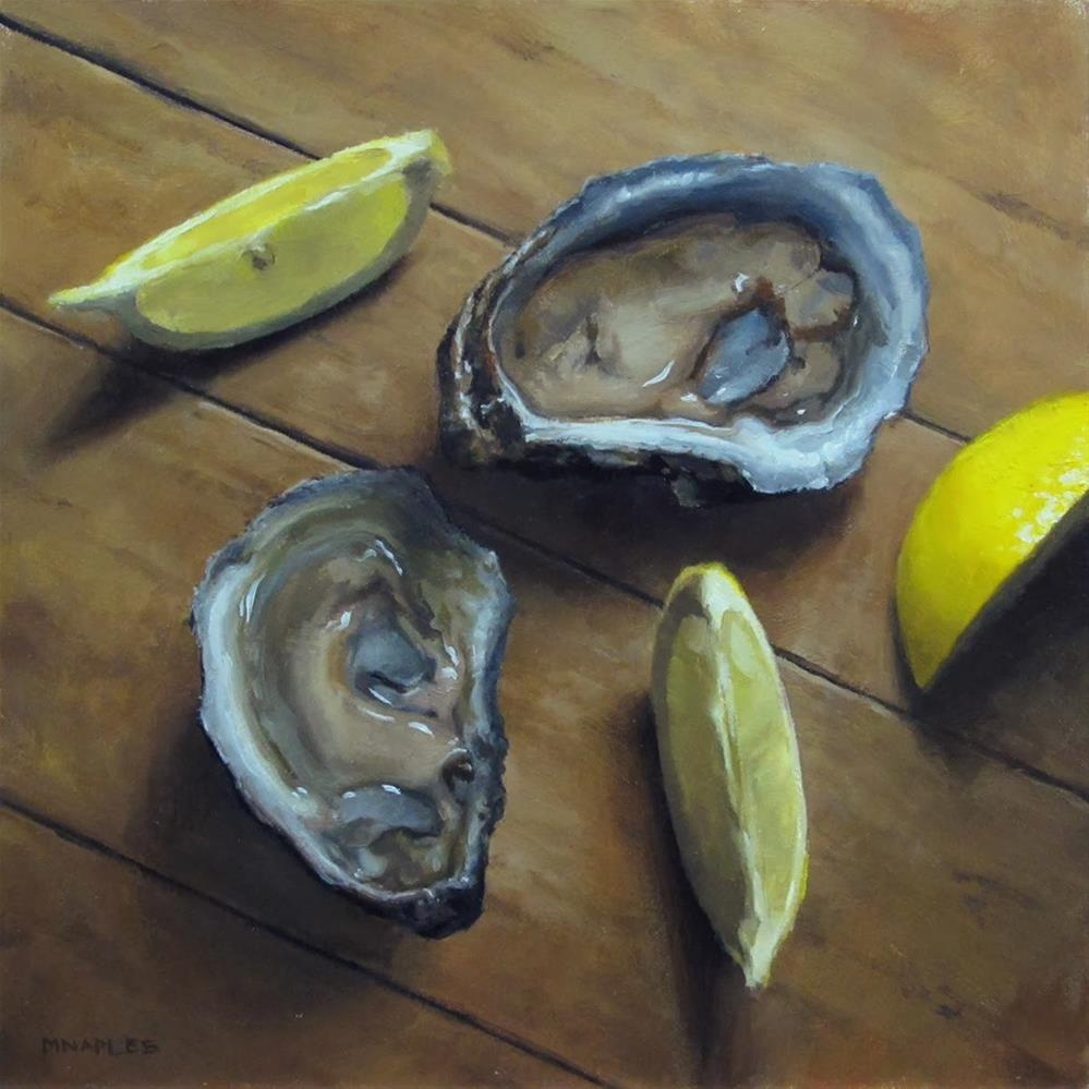 """Oysters and Lemon Slices"" original fine art by Michael Naples"