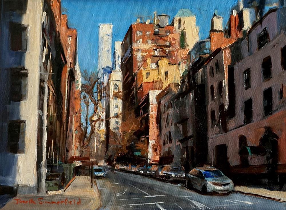 """""""Sunny Street in New York"""" original fine art by Jonelle Summerfield"""