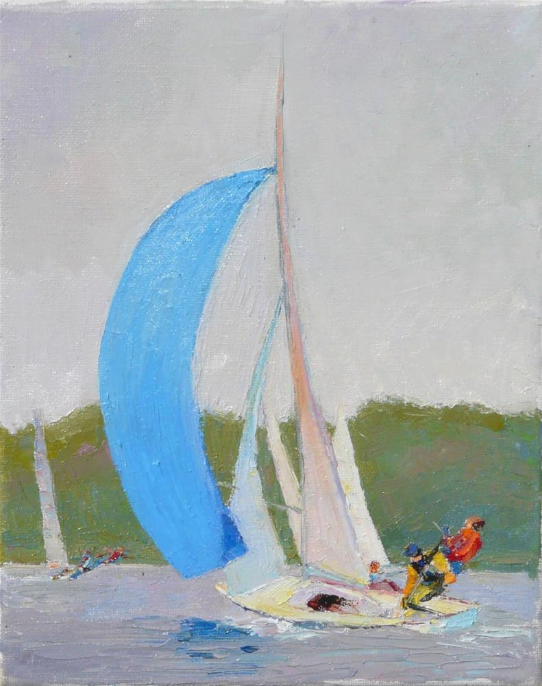 """Racing Boats,seascape,oil on canvas,10x8.price$400"" original fine art by Joy Olney"