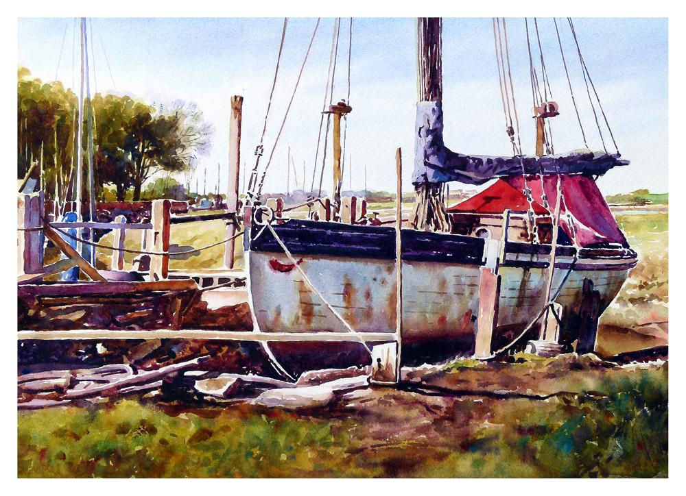 """Old nobby boat, Skippool Creek"" original fine art by Graham Berry"