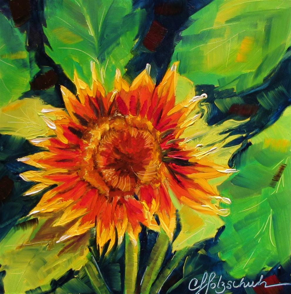 """Sunshine!   7x7  oil"" original fine art by Christine Holzschuh"
