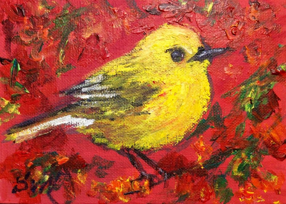 """Yellow bird"" original fine art by Sonia von Walter"