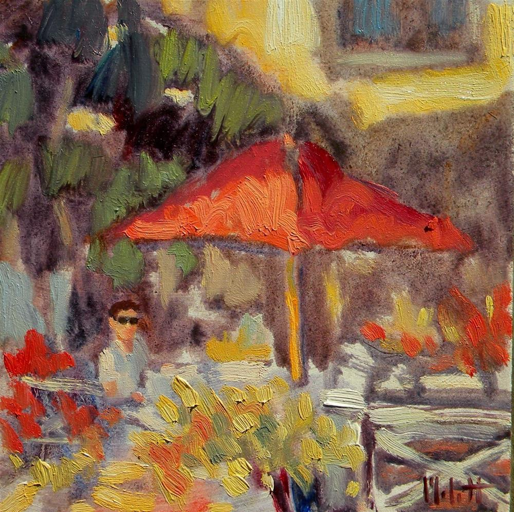"""Hawaii Dining Al Fresco Morning Cafe Impressionist Oil Painting"" original fine art by Heidi Malott"