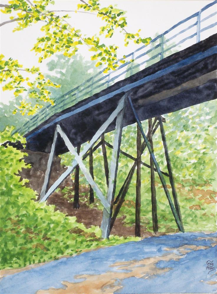 """Wooden Bridge"" original fine art by Greg Arens"