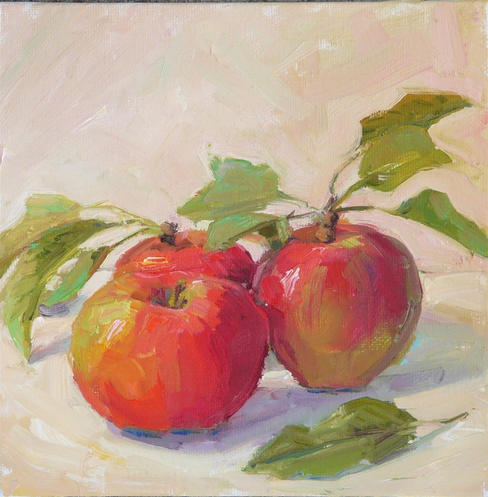 """Three from the Tree,still life,oil on canvas,8x8,price$300"" original fine art by Joy Olney"