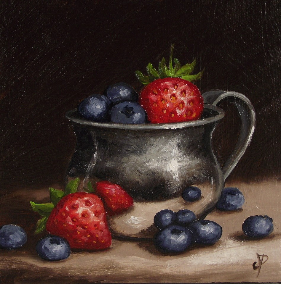 """Berries in Silver Cup"" original fine art by Jane Palmer"