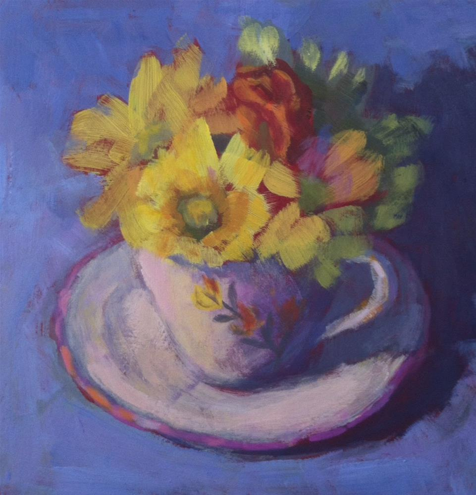 """Teacup/Yellow Daisies"" original fine art by Katharine March"