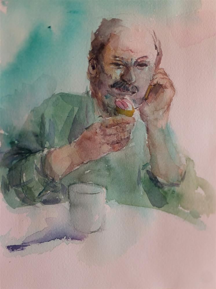 """Phone and a softcream"" original fine art by Midori Yoshino"