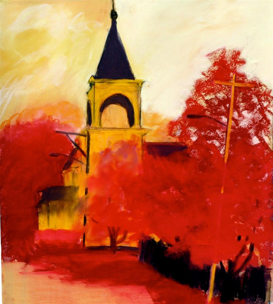 """""""Yellow Church"""" original fine art by Carol Wiley"""