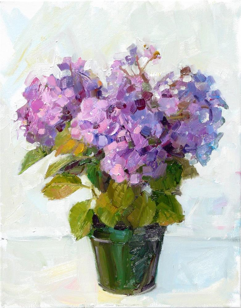 """Hydrangea in Pot,still life,oil on canvas,14x11,price$400"" original fine art by Joy Olney"